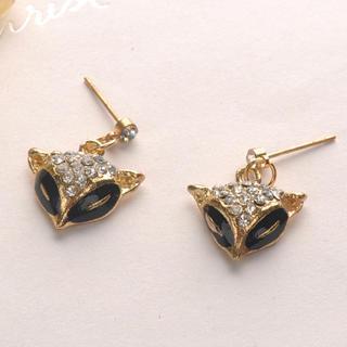 Diamond Fox Earrings - Gold Gold - One Size