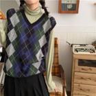 Argyle Pattern Knit Vest / Turtleneck Long-sleeve Top
