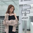 Plaid Shirt / Strappy Knit Minidress