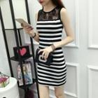 Lace Panel Striped Mini Sheath Tank Dress