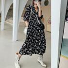 Floral Spaghetti Strap Dress / Off-shoulder A-line Dress / 3/4-sleeve Midi Dress