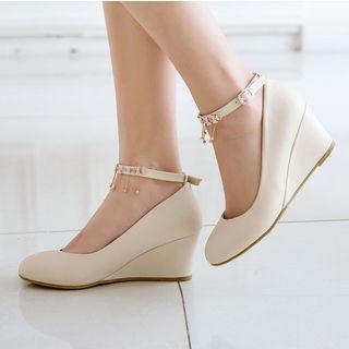 Embellished Ankle-strap Wedges
