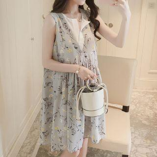 Mock Two Piece Floral Print Sleeveless Dress