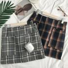 Pocketed Plaid A-line Skirt