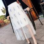 Leaf Embroidered Pleated Midi Skirt
