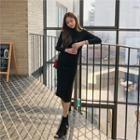 Mockneck Cutout-shoulder Long Knit Dress