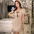 Short-sleeve Ruffled Check Dress