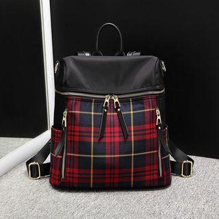 Genuine Leather Plaid Backpack