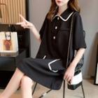 Elbow-sleeve Contrast Trim A-line Polo Dress