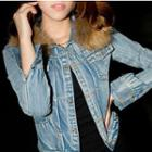Furry-trim Denim Buttoned Jacket