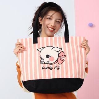 Pig Print Nylon Tote Bag