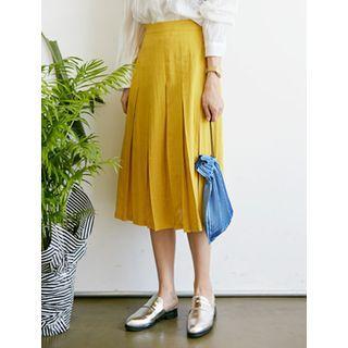 Linen Pleated Skirt