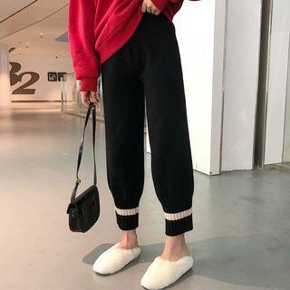 Contrast-trim Cropped Knit Pants Black - One Size