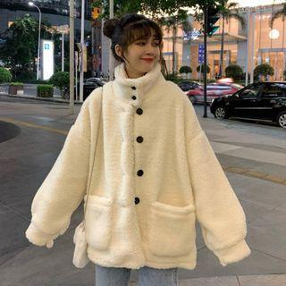 Stand-collar Furry Fleece-lined Long-sleeve Jacket As Shown In Figure - One Size