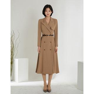 Peaked-lapel Flared Maxi Blazer Dress