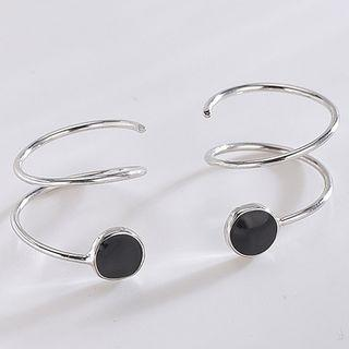 925 Sterling Silver Swirl Earring Es353-2 - 1 Pair - One Size