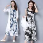 Set: Print Sleeveless Dress + Light Jacket