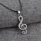 Rhinestone Note Necklace