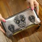 Faux Leather Skull Long Wallet