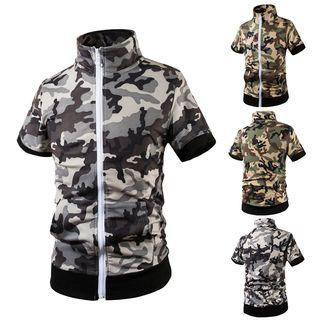 Short-sleeve Camouflage Zip Top