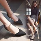 Faux Suede Ankle Chain High Heel Pumps