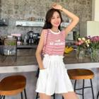 Set: Striped Sleeveless Top + Wide Leg Shorts