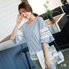 Lace-trim Bell-sleeve Top