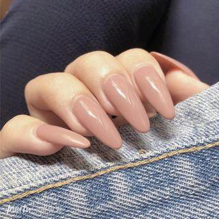 Plain Pointed Faux Nail Tip 294 - Glue - Nude Pink - One Size