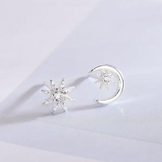 Non-matching 925 Sterling Silver Rhinestone Moon & Star Earring 1 Pair - Earring - One Size