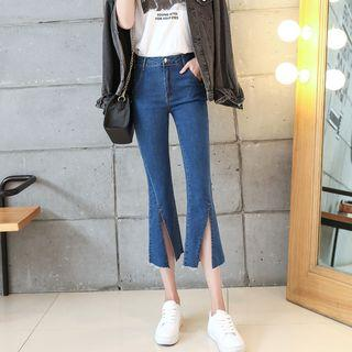 Boot-cut Cropped Slit-front Jeans