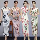 Short-sleeve Maxi Floral Qipao (various Designs)