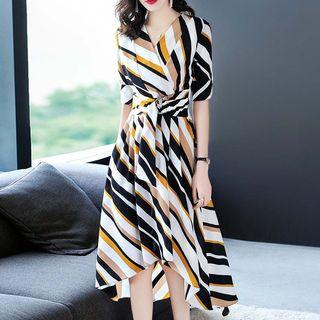 Color Block Striped Elbow-sleeve A-line Dress