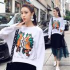 Rabbit Applique Pullover / Mesh Midi Skirt