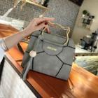 Hoop-accent Faux-leather Shoulder Bag