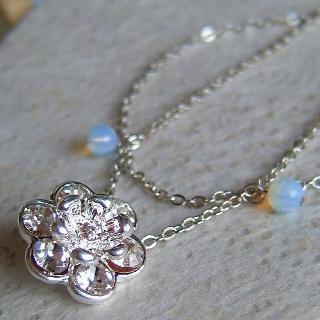 Silver Ladies Shiny Flower Double Bracelet
