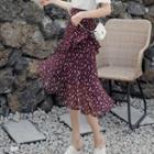 Tiered Printed Chiffon Midi Skirt