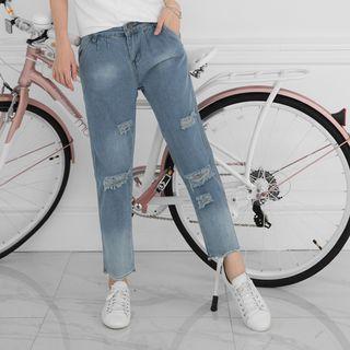 Washed Distressed Boyfriend Jeans