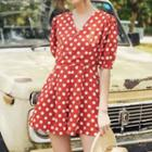 Set: Short-sleeve Dotted Playsuit + Dotted Hairband