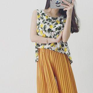 Set: Printed Tank Top + Pleated Pants Yellow - One Size