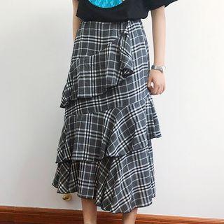 Midi Plaid Layered Skirt