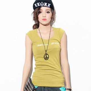 Cap-sleeve Printed T-shirt