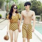 Couple Matching Set: Plaid Beach Short + Bikini + Swimsuit