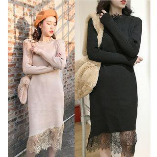 Lace Panel Midi Knit Dress