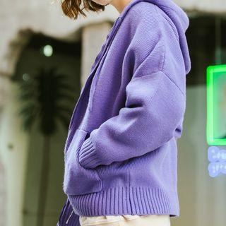 Plain Zip Knit Hooded Jacket