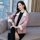 Cropped 3/4-sleeve Color Block Double-breasted Coat