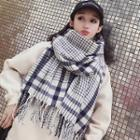 Fringed Plaid Scarf Plaid - White & Blue - One Size