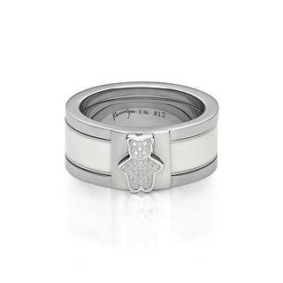White Mix&match Kenny Bear Ring