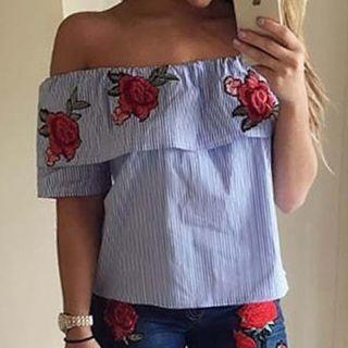 Flower Embroidered Short Sleeve Off Shoulder Top