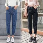 Button Cuff Cropped Baggy Jeans
