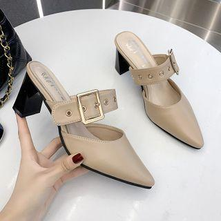 Pointy-toe Buckled Strap Chunky Heel Mules